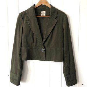 Anthropologie Tulle Cropped Green Jacket